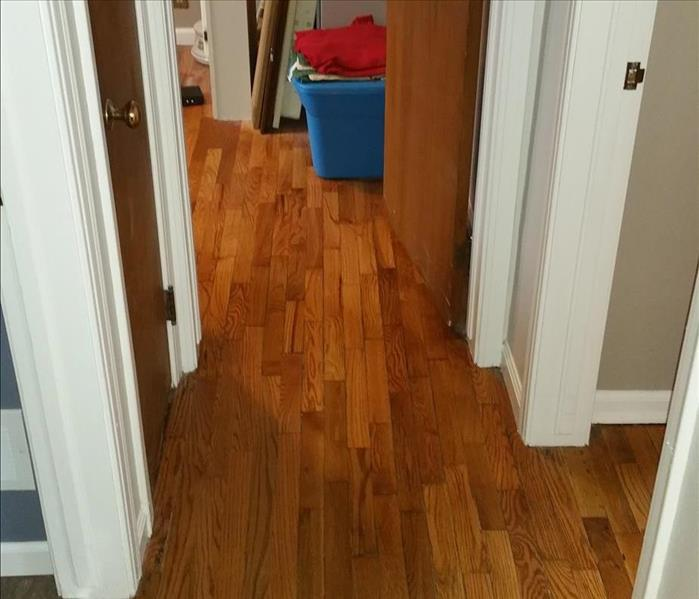 Water damage to hardwood floor after picture.